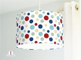 Deckenlampe mit großen Punkten in Blau und Rot aus Bio-Baumwolle