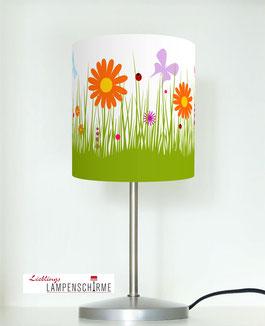 Tischlampe für Mädchen mit Blumen aus Baumwolle