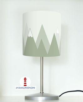 Tischlampe für Kinder mit Bergen in Salbei Grün aus Baumwolle