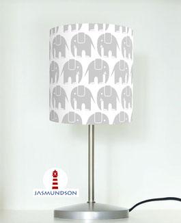Tischlampe für Babys und Kinder mit Elefanten in Grau auf Weiß aus Baumwollstoff