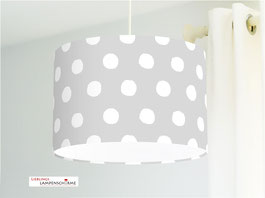 Lampe für Kinderzimmer und Schlafzimmer mit weißen Tupfen auf Grau aus Baumwolle