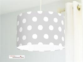Lampe für Kinderzimmer und Schlafzimmer mit weißen Tupfen auf Grau aus Bio-Baumwolle