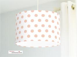 Lampe für Mädchen und Babyzimmer mit Tupfen in Rosé auf Weiß aus Baumwolle