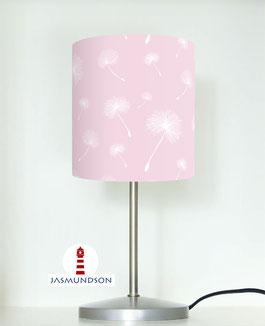 Tischlampe für Mädchen und Schlafzimmer mit Pusteblumen in hellem Rosa aus Baumwolle