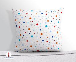 Kissen für Kinder mit bunten Punkten aus Baumwollstoff - andere Farben und Namen möglich