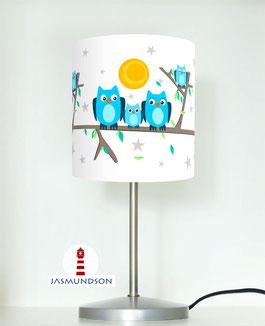Tischlampe für Kinder und Babys mit Eulen in Hellblau auf Weiß aus Baumwollstoff - andere Farben möglich