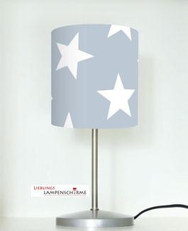 Tischlampe für Kinder mit großen Sternen auf Grau aus Baumwolle