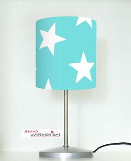 Tischlampe für Kinder mit großen Sternen auf Türkis aus Baumwolle