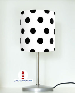 Nachttischlampe fürs Schlafzimmer und Babys mit schwarzen Punkten auf Weiß aus Baumwolle