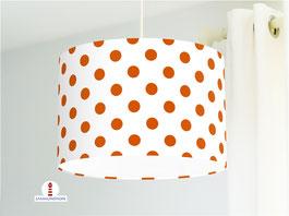 Lampe für Mädchen und Kinderzimmer mit orangen Punkten auf Weiß aus Baumwolle