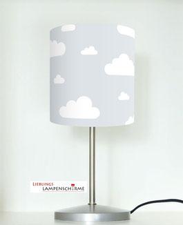 Tischlampe für Babys und Kinderzimmer mit Wolken in Grau aus Baumwolle