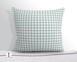 Kissen für Schlafzimmer und Couch kariert in Grüngrau aus Baumwollstoff