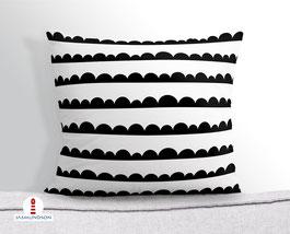 Kissen mit Halbkreisen im skandinavischen Design in Schwarz Weiß aus Baumwollstoff - andere Farben möglich