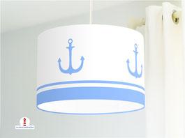 Lampe mit maritimen Ankern fürs Schlafzimmer Babys und als Stehlampe aus Baumwolle