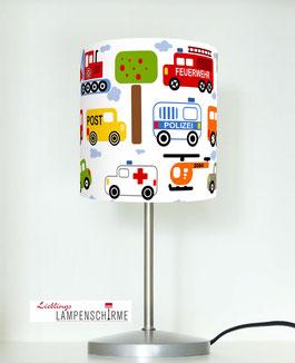 Tischlampe für Jungs und Kinderzimmer mit Autos aus Baumwolle