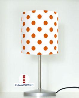 Tischlampe für Kinder und Schlafzimmer mit Punkten in Orange auf Weiß aus Baumwollstoff