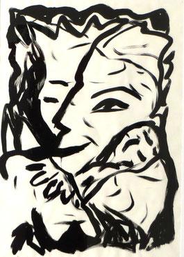 Friedensvertrag, 100/70cm, Acrylfarbe auf Papier, 1986, Privatsammlung Bielefeld