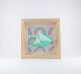 Cadre origami Bateau - Format 14x14cm - 25€