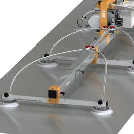 Teleskoptraversen am Finken Vakuumheber zum Einstellen der Traversenlänge auf das Transportgut