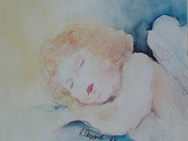 Schlafender Engel/Mischtechnik
