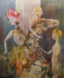 Goldene Flötistin - Öl und Acryl auf Leinwand, 130 x 80cm, 2019