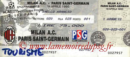 Ticket  Milan AC-PSG  1994-95