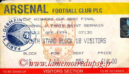 Ticket  Arsenal-PSG  1993-94
