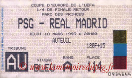 Ticket  PSG-Real Madrid  1992-93