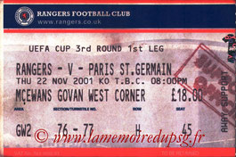 Ticket  Rangers-PSG  2001-02