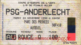 Ticket  PSG-Anderlecht  1992-93