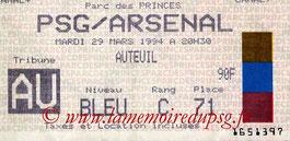 Ticket  PSG-Arsenal  1993-94