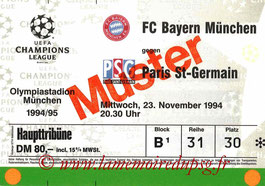 Ticket  Bayern Munich-PSG  1994-95