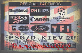 Ticket  PSG-Dynamo Kiev  1994-95