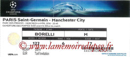 Ticket  PSG-Manchester City  2015-16
