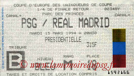 Ticket  PSG-Real Madrid  1993-94