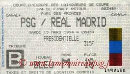 Ticket  PSG-Real Madrid  1993-94