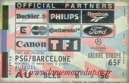 Ticket  PSG-Barcelone  1994-95