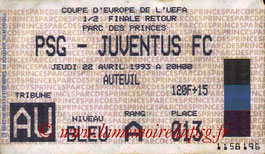 Ticket  PSG-Juventus Turin  1992-93