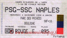 Ticket  PSG-Naples  1992-93