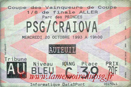 Ticket  PSG-Craïova  1993-94