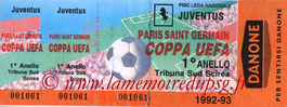 Ticket  Juventus Turin-PSG  1992-93