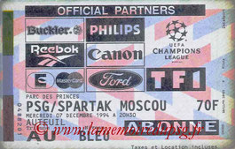 Ticket  PSG-Spartak Moscou  1994-95