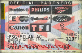 Ticket  PSG-Milan AC  1994-95