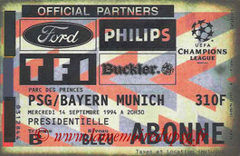Ticket  PSG-Bayern Munich  1994-95