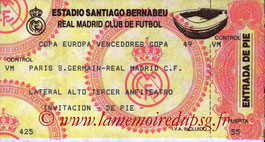 Ticket  Real Madrid-PSG  1993-94
