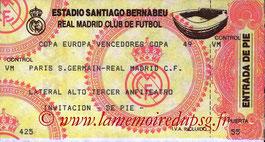 Ticket  Real Madrid-PSG  1993-94