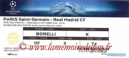 Ticket  PSG-Real Madrid  2015-16