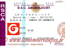 Tickets  Anderlecht-PSG  1992-93