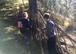 Hütte, Wald, bauen, Kinder