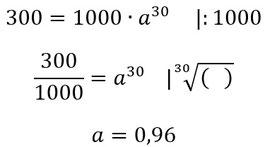Rechenschritte zur Berechnung der prozentuellen Abnahme.